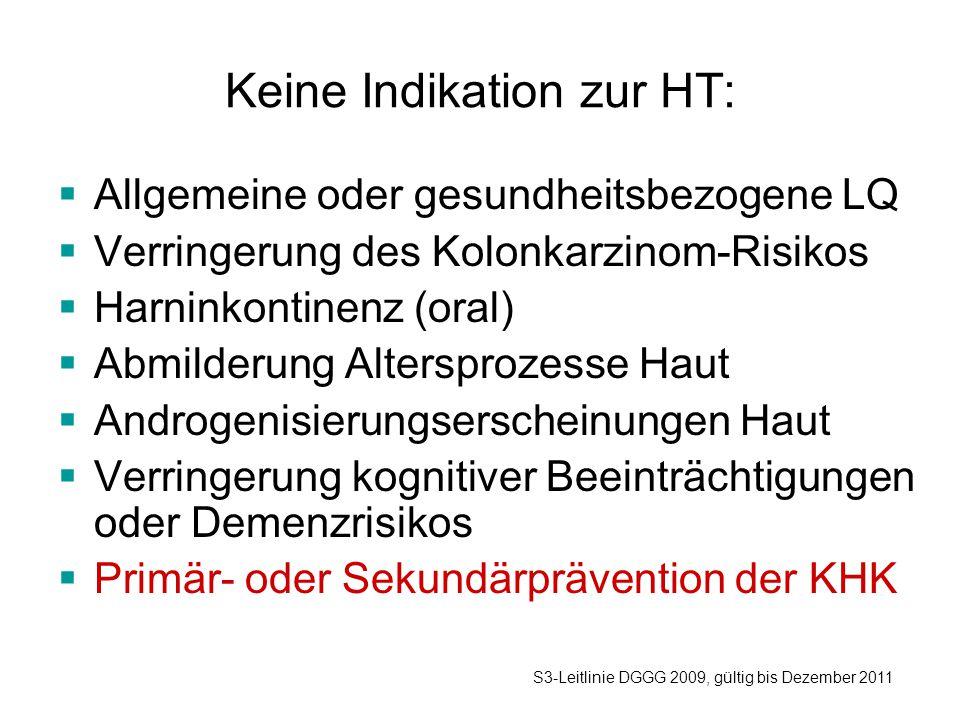 Keine Indikation zur HT:  Allgemeine oder gesundheitsbezogene LQ  Verringerung des Kolonkarzinom-Risikos  Harninkontinenz (oral)  Abmilderung Altersprozesse Haut  Androgenisierungserscheinungen Haut  Verringerung kognitiver Beeinträchtigungen oder Demenzrisikos  Primär- oder Sekundärprävention der KHK S3-Leitlinie DGGG 2009, gültig bis Dezember 2011