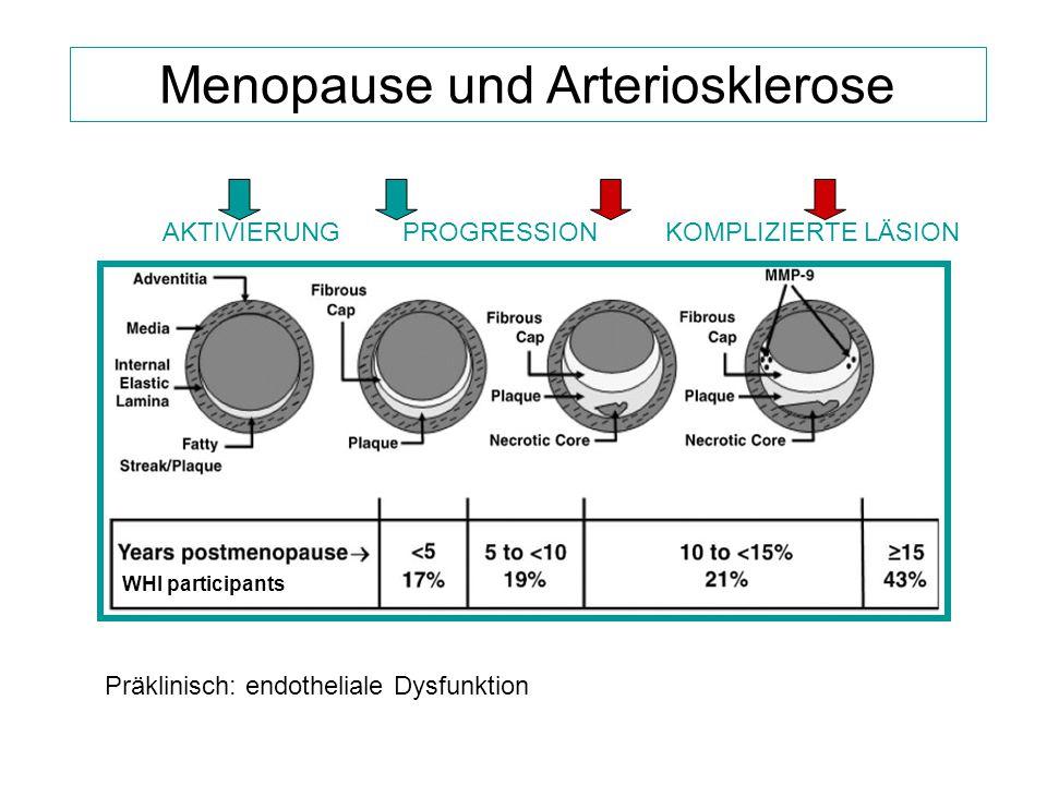 Menopause und Arteriosklerose Präklinisch: endotheliale Dysfunktion AKTIVIERUNG KOMPLIZIERTE LÄSION PROGRESSION WHI participants