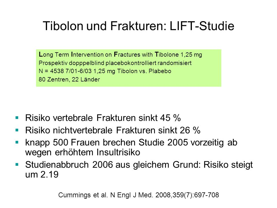 Tibolon und Frakturen: LIFT-Studie L ong Term I ntervention on F ractures with T ibolone 1,25 mg Prospektiv dopppelblind placebokontrolliert randomisiert N = 4538 7/01-6/03 1,25 mg Tibolon vs.