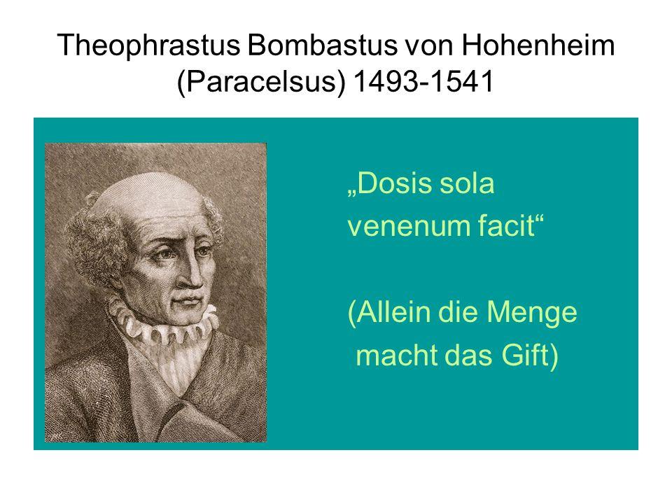 """Theophrastus Bombastus von Hohenheim (Paracelsus) 1493-1541 """"Dosis sola venenum facit (Allein die Menge macht das Gift)"""