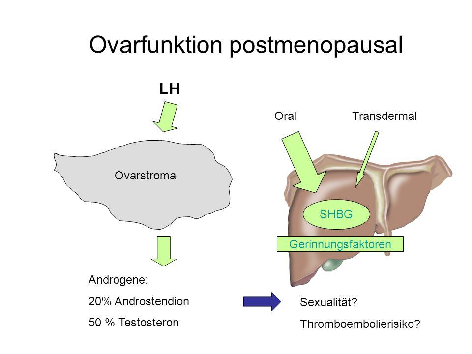 Ovarfunktion postmenopausal Ovarstroma LH Androgene: 20% Androstendion 50 % Testosteron SHBG OralTransdermal Gerinnungsfaktoren Sexualität.