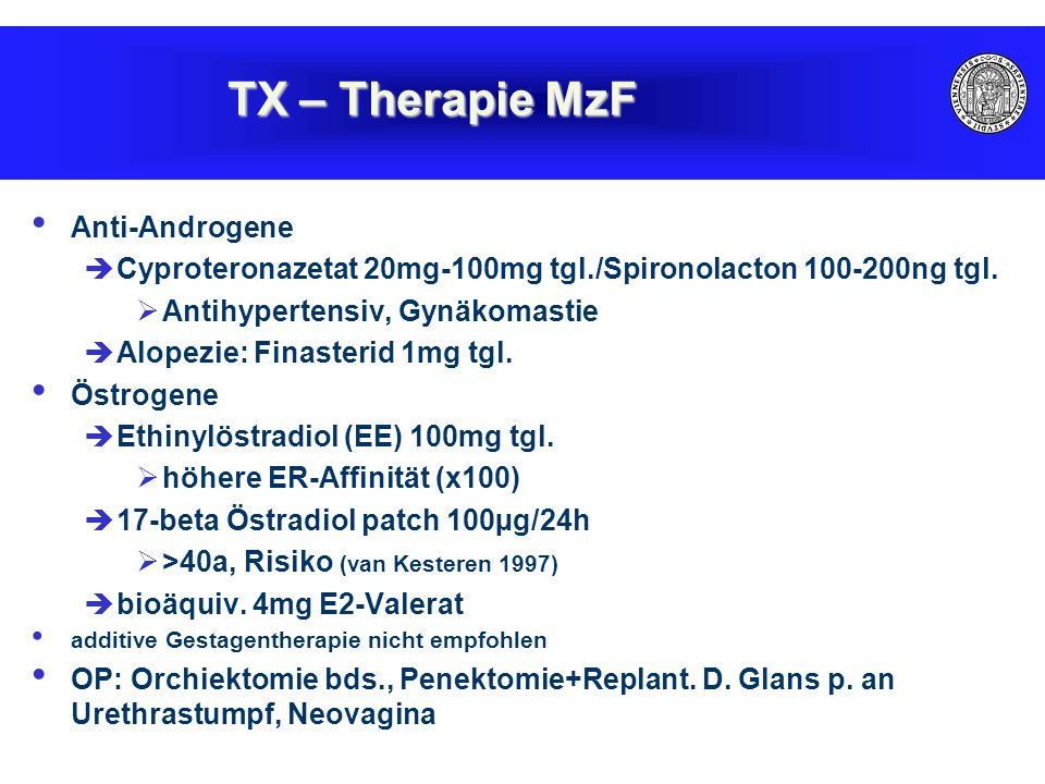 Anti-Androgene  Cyproteronazetat 20mg-100mg tgl./Spironolacton 100-200ng tgl.