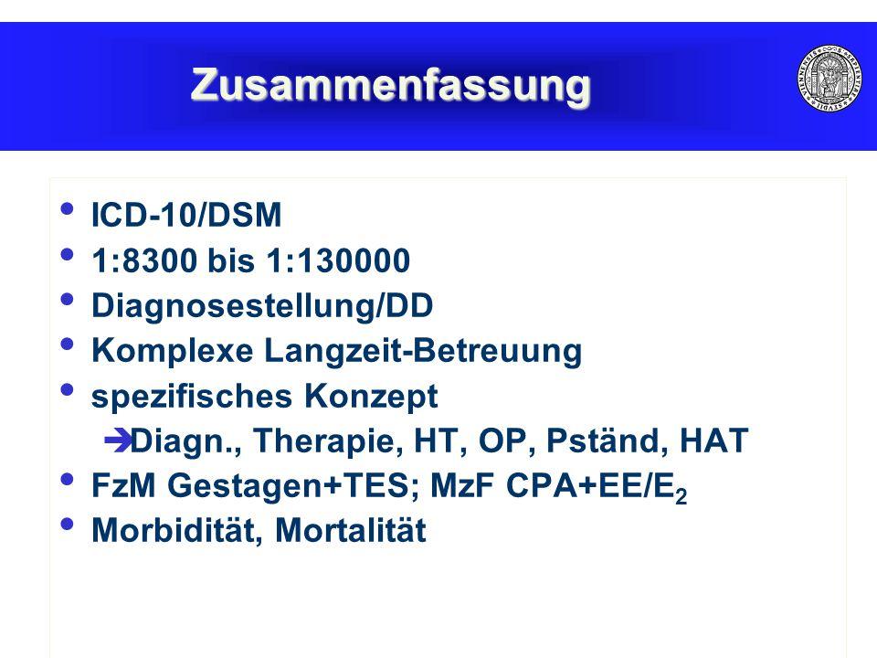 Zusammenfassung ICD-10/DSM 1:8300 bis 1:130000 Diagnosestellung/DD Komplexe Langzeit-Betreuung spezifisches Konzept  Diagn., Therapie, HT, OP, Pständ, HAT FzM Gestagen+TES; MzF CPA+EE/E 2 Morbidität, Mortalität