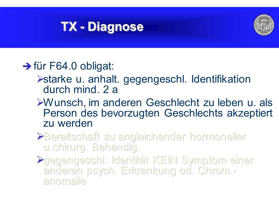  für F64.0 obligat:  starke u. anhalt. gegengeschl.