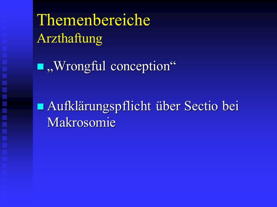 """Themenbereiche Arzthaftung """"Wrongful conception """"Wrongful conception Aufklärungspflicht über Sectio bei Makrosomie Aufklärungspflicht über Sectio bei Makrosomie"""