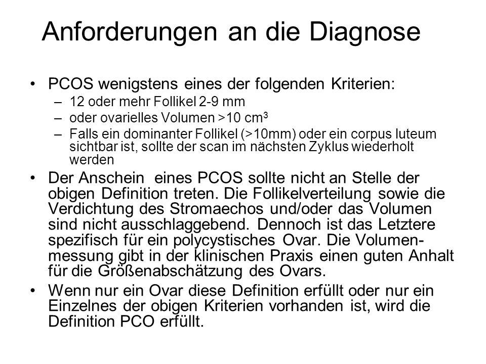 Anforderungen an die Diagnose PCOS wenigstens eines der folgenden Kriterien: –12 oder mehr Follikel 2-9 mm –oder ovarielles Volumen >10 cm 3 –Falls ei