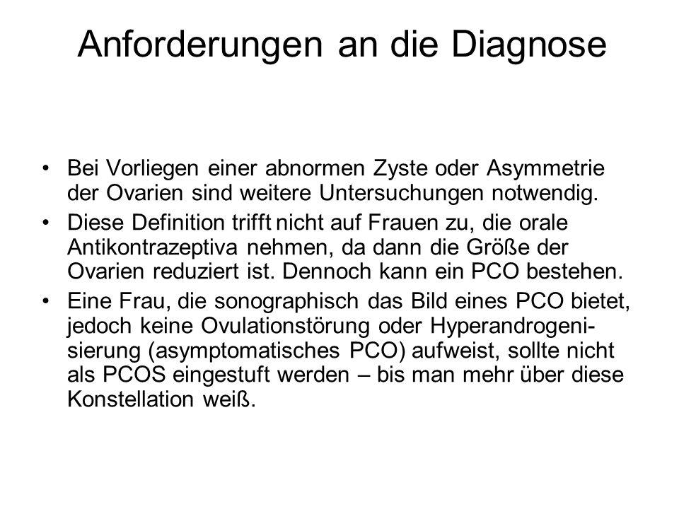 Anforderungen an die Diagnose Bei Vorliegen einer abnormen Zyste oder Asymmetrie der Ovarien sind weitere Untersuchungen notwendig. Diese Definition t