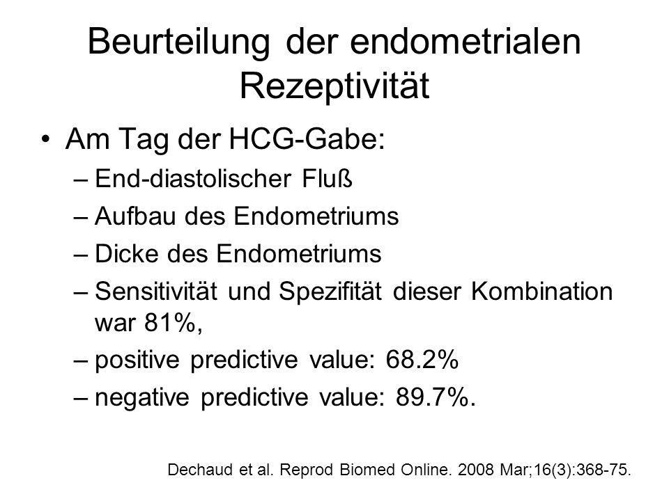 Beurteilung der endometrialen Rezeptivität Am Tag der HCG-Gabe: –End-diastolischer Fluß –Aufbau des Endometriums –Dicke des Endometriums –Sensitivität