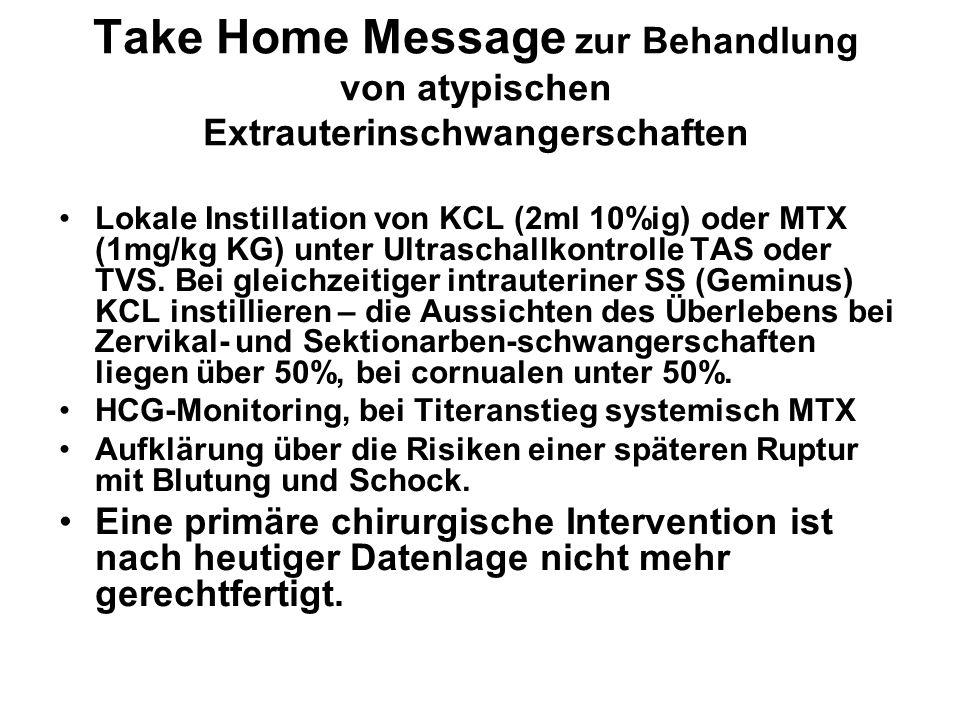 Take Home Message zur Behandlung von atypischen Extrauterinschwangerschaften Lokale Instillation von KCL (2ml 10%ig) oder MTX (1mg/kg KG) unter Ultras