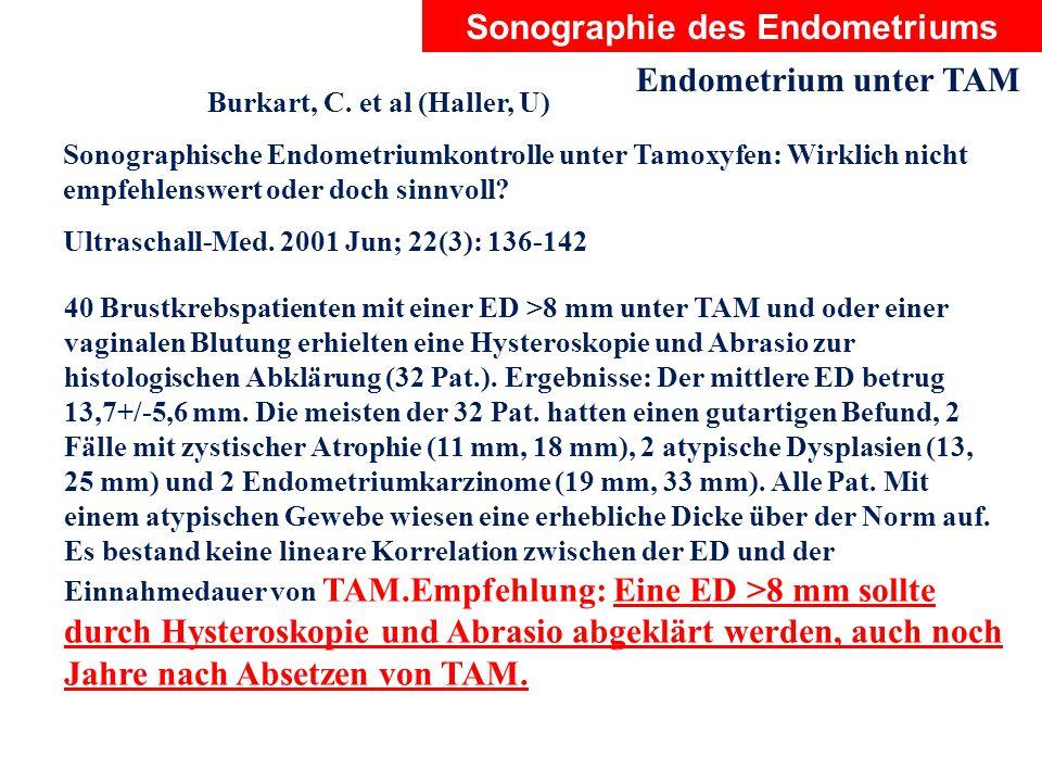 Sonographie des Endometriums Endometrium unter TAM Burkart, C. et al (Haller, U) Sonographische Endometriumkontrolle unter Tamoxyfen: Wirklich nicht e