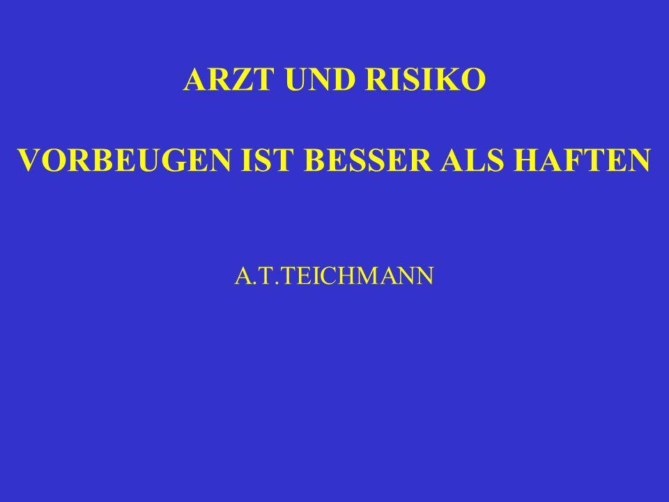 ARZT UND RISIKO VORBEUGEN IST BESSER ALS HAFTEN A.T.TEICHMANN
