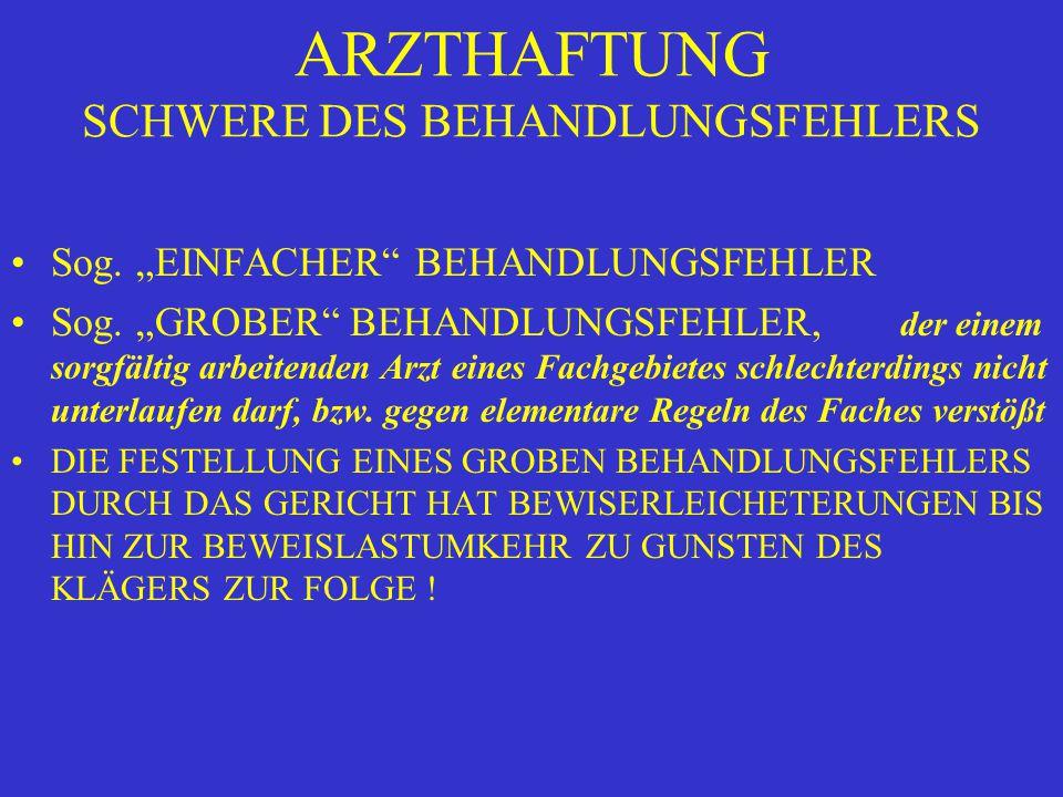 """ARZTHAFTUNG SCHWERE DES BEHANDLUNGSFEHLERS Sog. """"EINFACHER BEHANDLUNGSFEHLER Sog."""