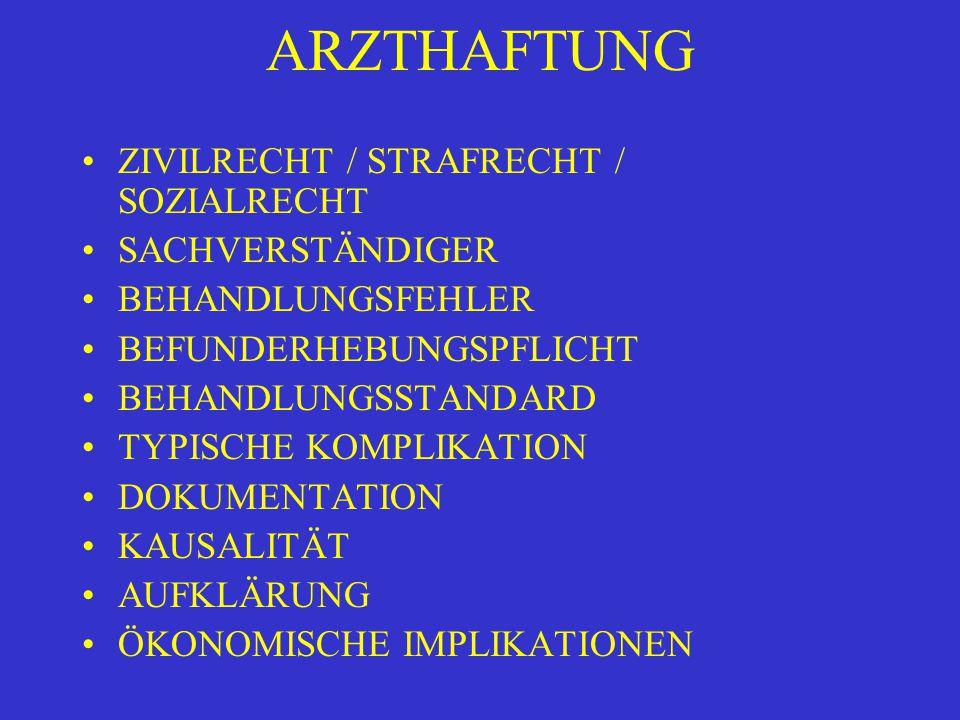 ARZTHAFTUNG ZIVILRECHT / STRAFRECHT / SOZIALRECHT SACHVERSTÄNDIGER BEHANDLUNGSFEHLER BEFUNDERHEBUNGSPFLICHT BEHANDLUNGSSTANDARD TYPISCHE KOMPLIKATION DOKUMENTATION KAUSALITÄT AUFKLÄRUNG ÖKONOMISCHE IMPLIKATIONEN