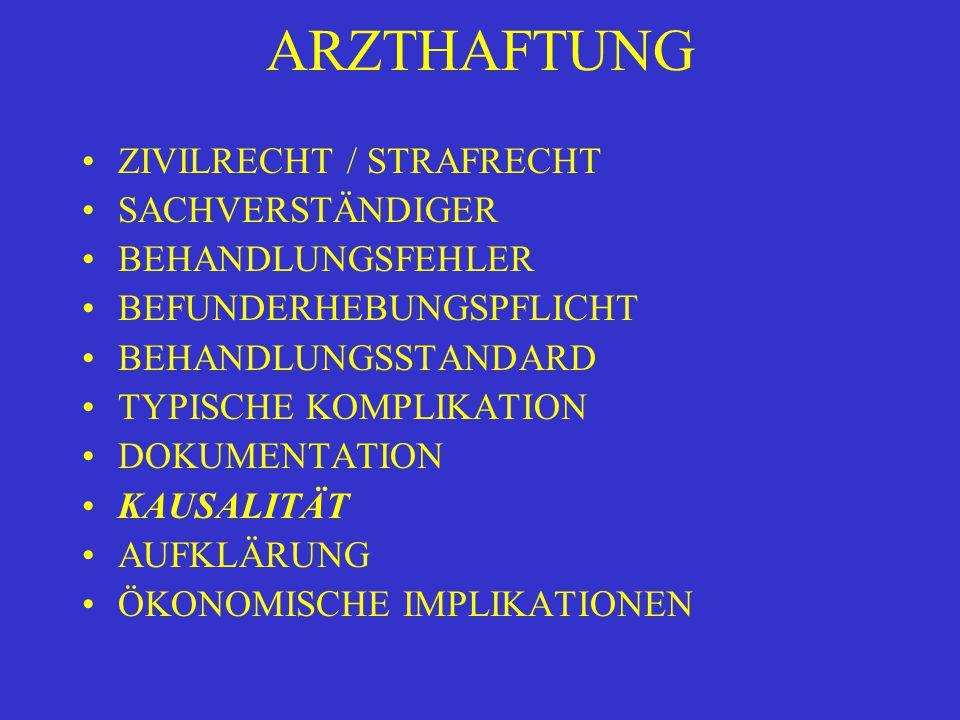 ARZTHAFTUNG ZIVILRECHT / STRAFRECHT SACHVERSTÄNDIGER BEHANDLUNGSFEHLER BEFUNDERHEBUNGSPFLICHT BEHANDLUNGSSTANDARD TYPISCHE KOMPLIKATION DOKUMENTATION KAUSALITÄT AUFKLÄRUNG ÖKONOMISCHE IMPLIKATIONEN