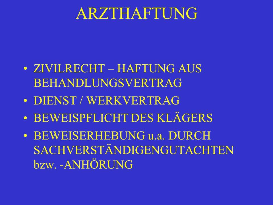 ARZTHAFTUNG ZIVILRECHT – HAFTUNG AUS BEHANDLUNGSVERTRAG DIENST / WERKVERTRAG BEWEISPFLICHT DES KLÄGERS BEWEISERHEBUNG u.a.
