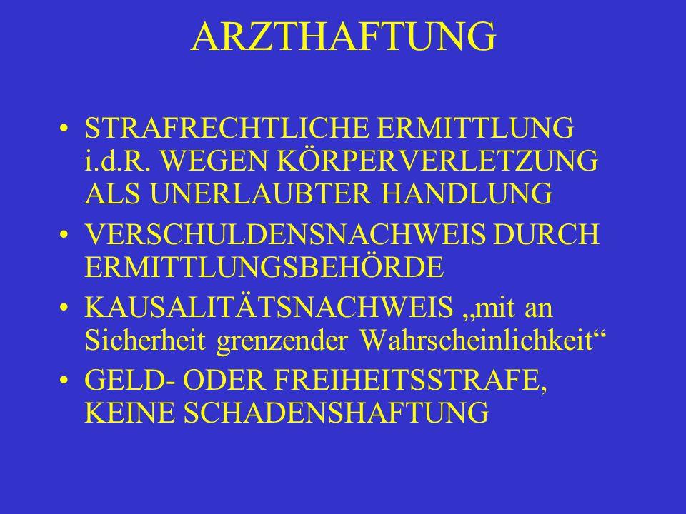 ARZTHAFTUNG STRAFRECHTLICHE ERMITTLUNG i.d.R.