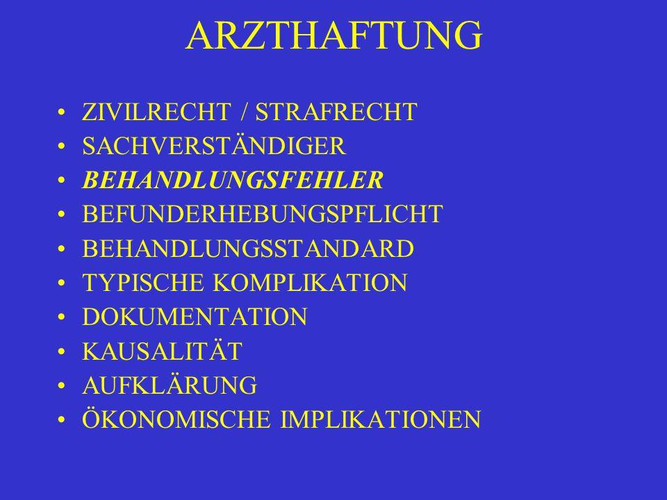 ARZTHAFTUNG BEHANDLUNGSFEHLER FEHLERHAFTE DIAGNOSE FEHLERHAFTE INDIKATIONSSTELLUNG FEHLERHAFTE BEHANDLUNG VERLETZUNG DER GEBOTENEN SORGFALT UNTERLASSUNG insb.