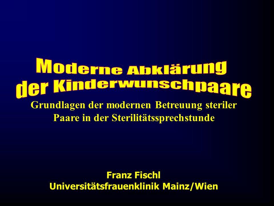 FIS-KIWU Abklärung Mauritius 06 Franz Fischl Universitätsfrauenklinik Mainz/Wien Grundlagen der modernen Betreuung steriler Paare in der Sterilitätssp