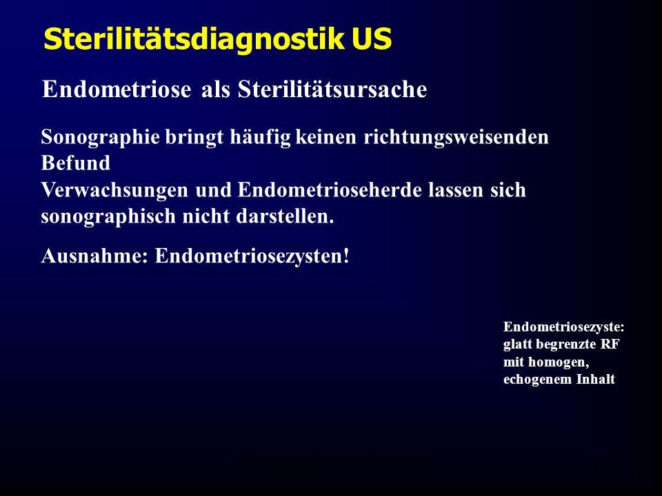 FIS - Hormonell aktuell Zypern 200619 Sterilitätsdiagnostik US Endometriose als Sterilitätsursache Sonographie bringt häufig keinen richtungsweisenden Befund Verwachsungen und Endometrioseherde lassen sich sonographisch nicht darstellen.