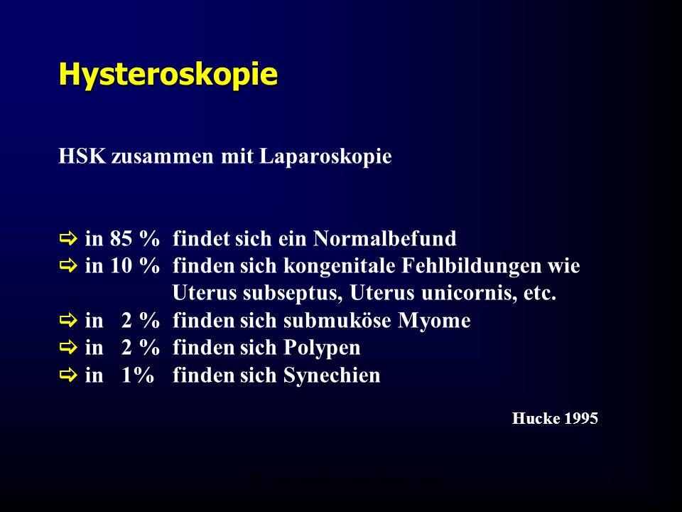 FIS - Hormonell aktuell Zypern 200625 Hysteroskopie HSK zusammen mit Laparoskopie  in 85 % findet sich ein Normalbefund  in 10 % finden sich kongenitale Fehlbildungen wie Uterus subseptus, Uterus unicornis, etc.