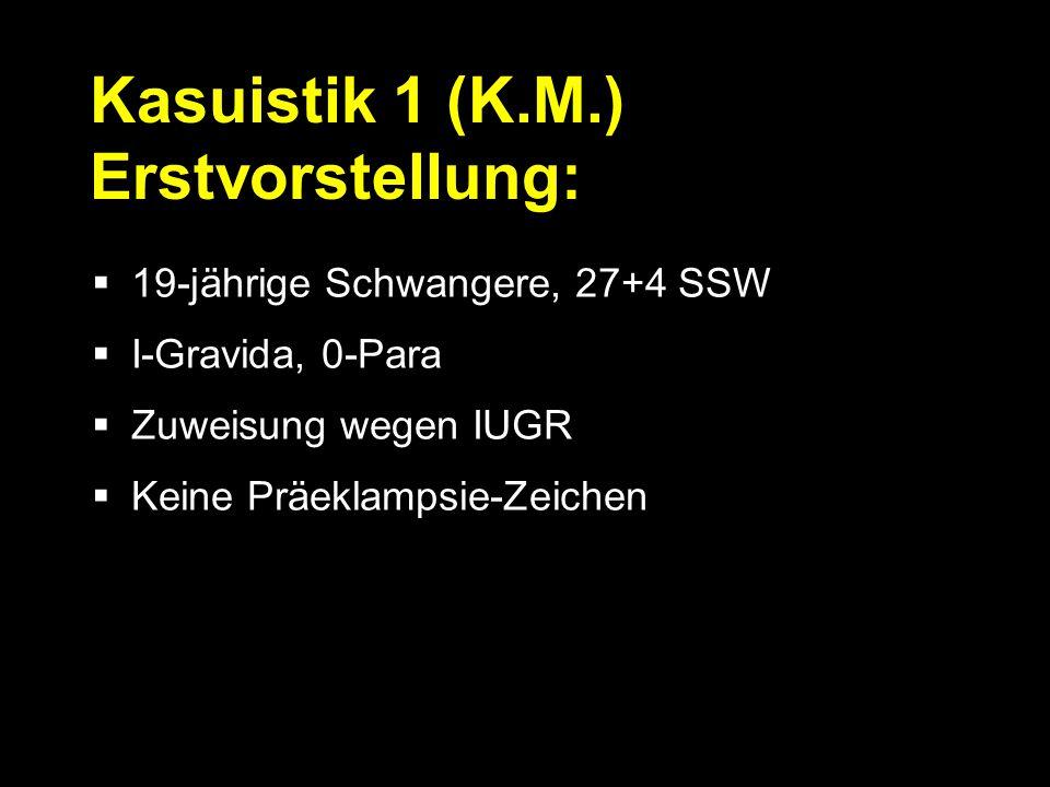  19-jährige Schwangere, 27+4 SSW  I-Gravida, 0-Para  Zuweisung wegen IUGR  Keine Präeklampsie-Zeichen Kasuistik 1 (K.M.) Erstvorstellung: