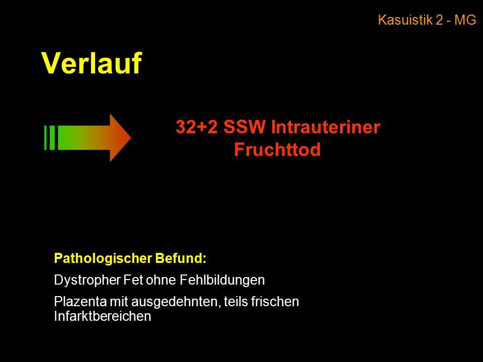 Verlauf 32+2 SSW Intrauteriner Fruchttod Pathologischer Befund: Dystropher Fet ohne Fehlbildungen Plazenta mit ausgedehnten, teils frischen Infarktbereichen Kasuistik 2 - MG