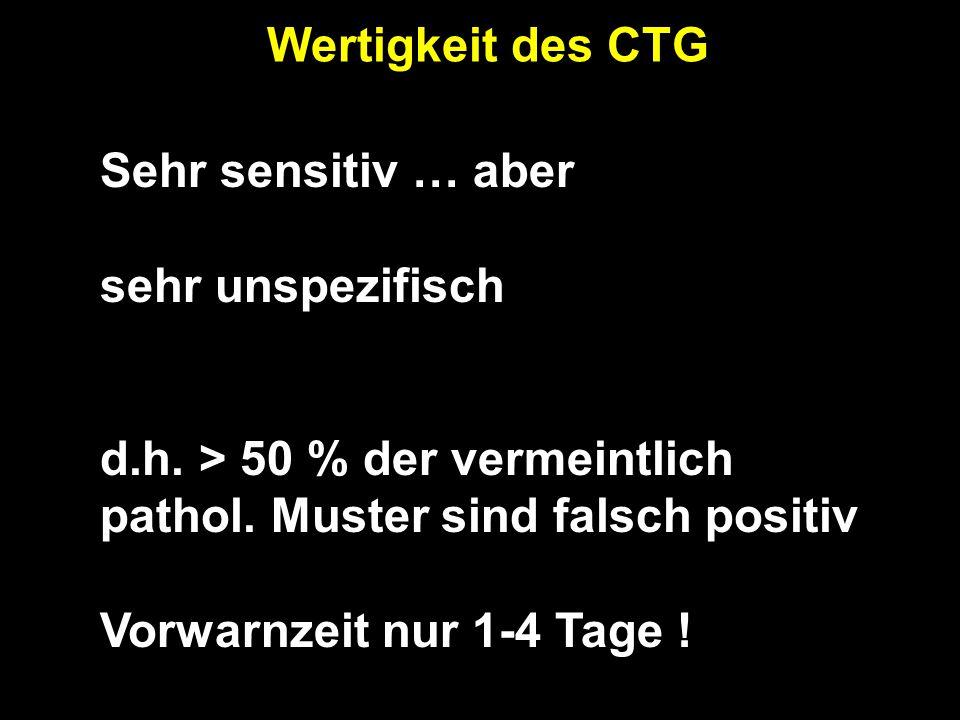 Wertigkeit des CTG Sehr sensitiv … aber sehr unspezifisch d.h.
