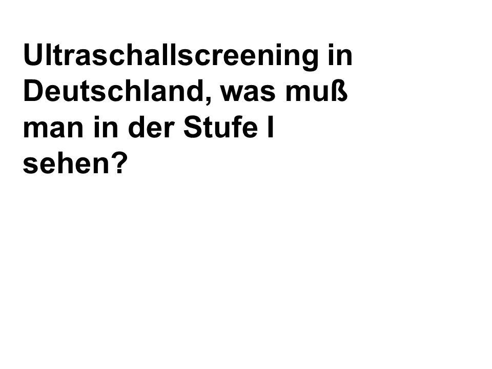 Ultraschallscreening in Deutschland, was muß man in der Stufe I sehen?