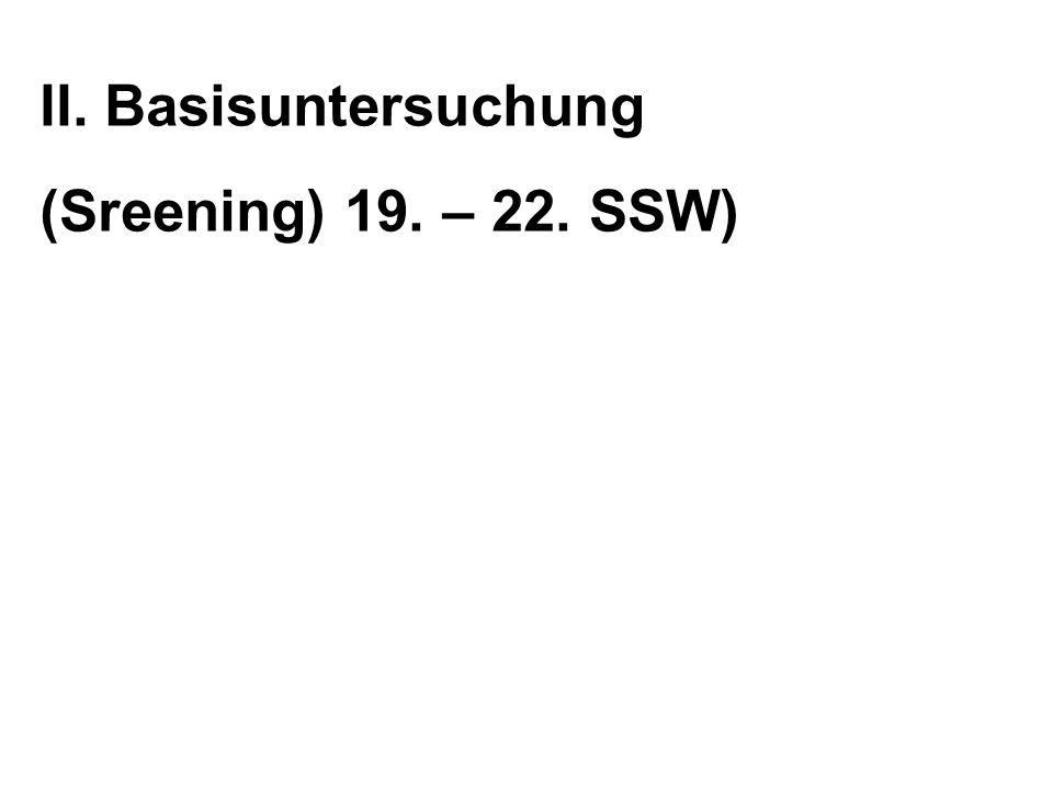 II. Basisuntersuchung (Sreening) 19. – 22. SSW)