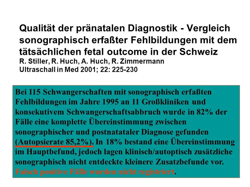 Qualität der pränatalen Diagnostik - Vergleich sonographisch erfaßter Fehlbildungen mit dem tätsächlichen fetal outcome in der Schweiz R. Stiller, R.