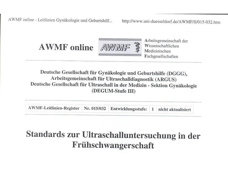 Deutsche Studien zur Erkennung von Fehlbildungen im Ultraschallscreening Sensitivität in % Hackelöer (Krenz) 1988, bis 24 SSW) 20 Queißer-Luft et al 1993 28 Behrends et al.