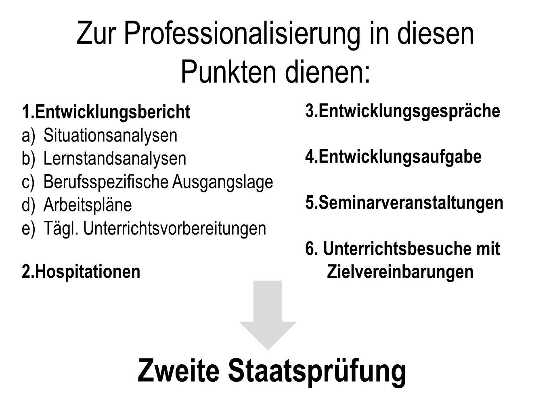 Zur Professionalisierung in diesen Punkten dienen: 1.Entwicklungsbericht a)Situationsanalysen b)Lernstandsanalysen c)Berufsspezifische Ausgangslage d)Arbeitspläne e)Tägl.