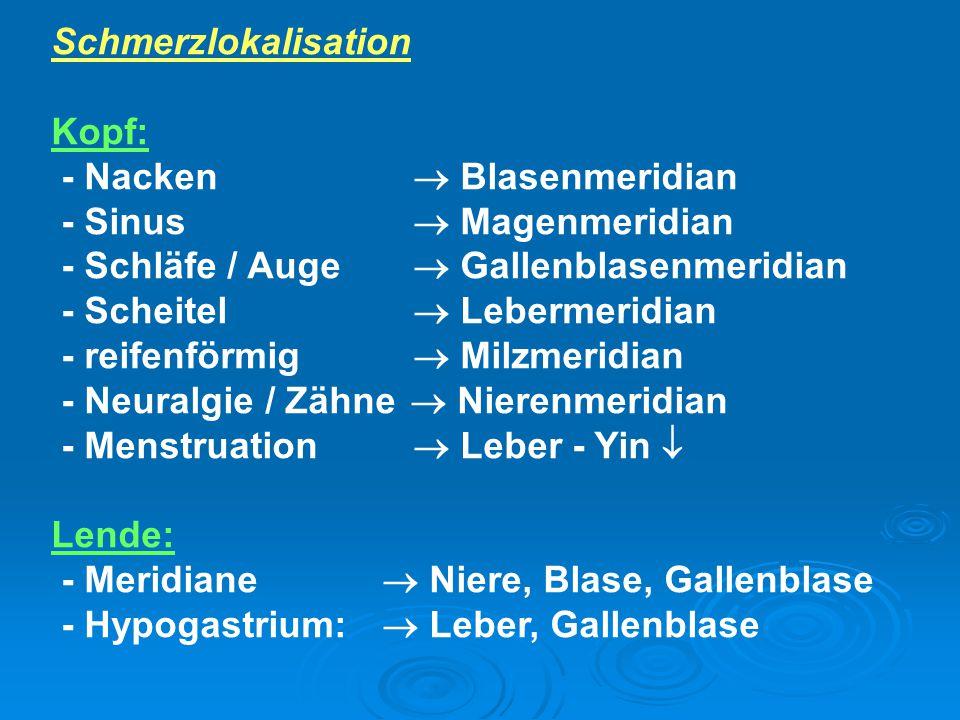 Schmerzlokalisation Kopf: - Nacken  Blasenmeridian - Sinus  Magenmeridian - Schläfe / Auge  Gallenblasenmeridian - Scheitel  Lebermeridian - reife
