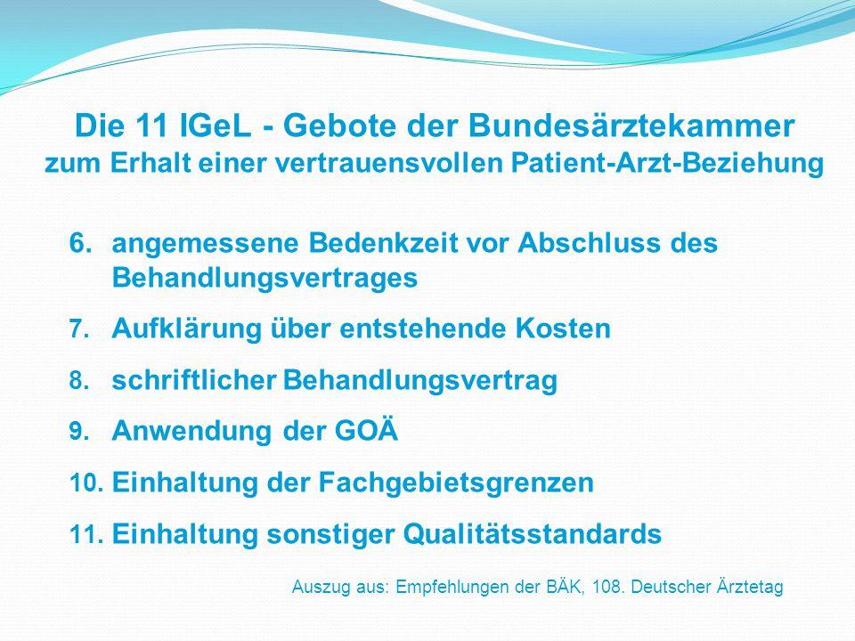 6.angemessene Bedenkzeit vor Abschluss des Behandlungsvertrages 7.