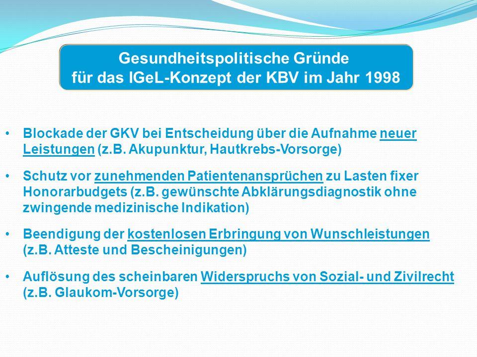 Gegenseitiger Respekt für die seriösen Grundanliegen von IGeL- Befürwortern und IGeL-Gegnern Gemeinsame Bewertung von IGel-Leistungen durch MDS und ZI (Zentralinstitut der KVen) Definition eines Konsenskatalogs anerkannter IGeL-Leistungen durch KBV und GKV-Spitzenverband, ggf.