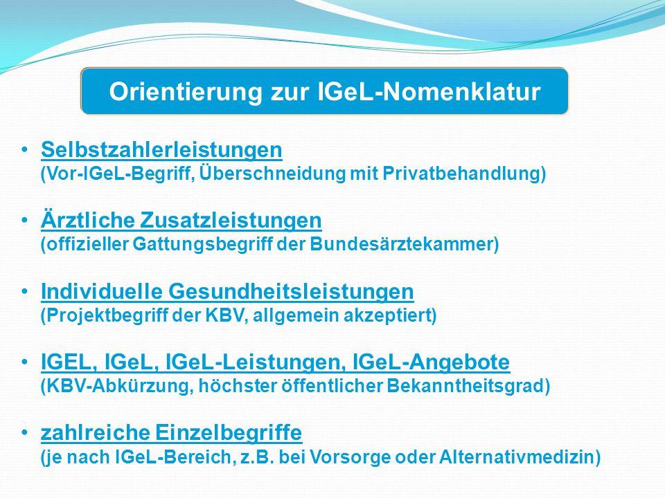 Selbstzahlerleistungen (Vor-IGeL-Begriff, Überschneidung mit Privatbehandlung) Ärztliche Zusatzleistungen (offizieller Gattungsbegriff der Bundesärztekammer) Individuelle Gesundheitsleistungen (Projektbegriff der KBV, allgemein akzeptiert) IGEL, IGeL, IGeL-Leistungen, IGeL-Angebote (KBV-Abkürzung, höchster öffentlicher Bekanntheitsgrad) zahlreiche Einzelbegriffe (je nach IGeL-Bereich, z.B.
