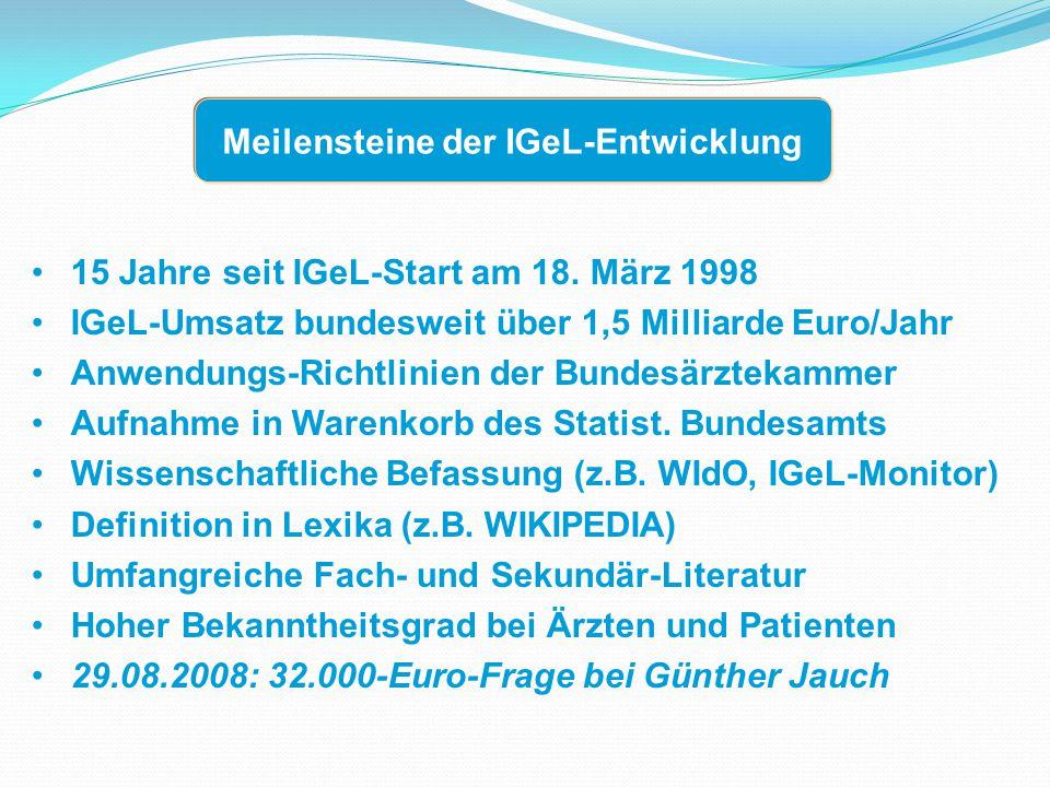 15 Jahre seit IGeL-Start am 18.