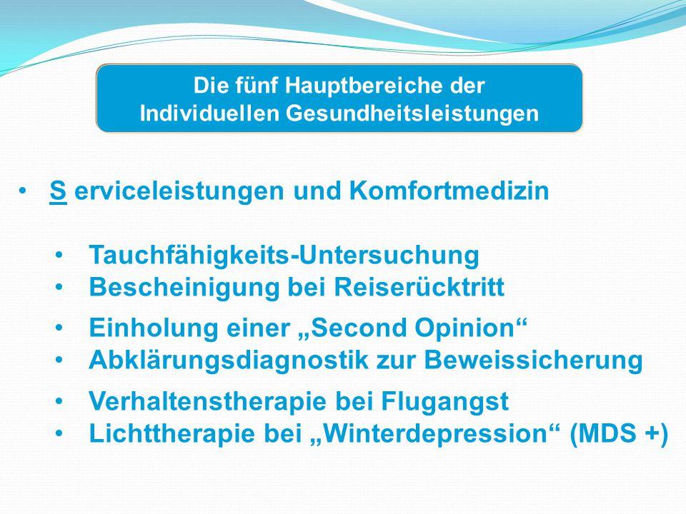 A lternativ- und Umweltmedizin Akupunktur zur Migräneprophylaxe (MDS +) Anthroposophische Medizin Ayurvedische Medizin Mikrobiologische Therapie/Symbioselenkung Umweltmedizinische Wohnraumbegehung Die fünf Hauptbereiche der Individuellen Gesundheitsleistungen