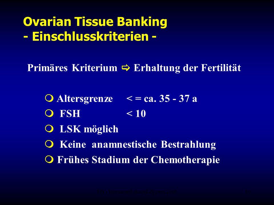 FIS - Hormonell aktuell Zypern 200610 Ovarian Tissue Banking - Einschlusskriterien - Primäres Kriterium  Erhaltung der Fertilität  Altersgrenze < =