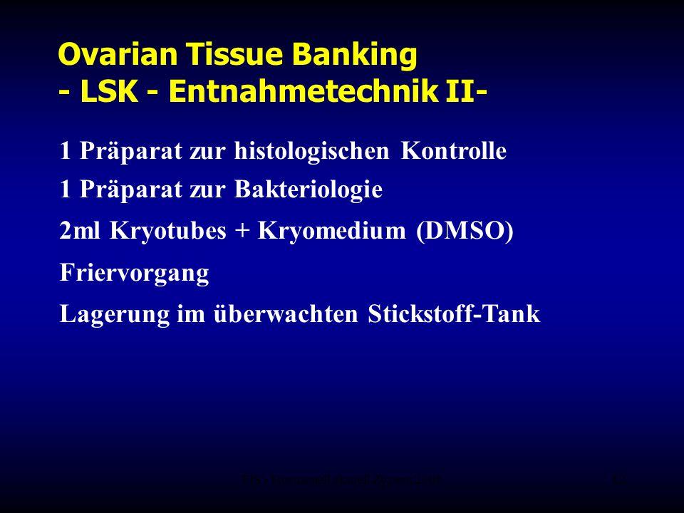 FIS - Hormonell aktuell Zypern 200612 Ovarian Tissue Banking - LSK - Entnahmetechnik II- 1 Präparat zur histologischen Kontrolle 1 Präparat zur Bakter