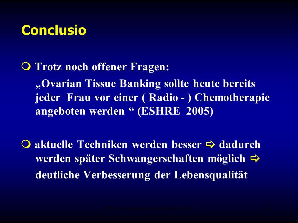 """FIS - Hormonell aktuell Zypern 200632 Conclusio  Trotz noch offener Fragen: """"Ovarian Tissue Banking sollte heute bereits jeder Frau vor einer ( Radio"""