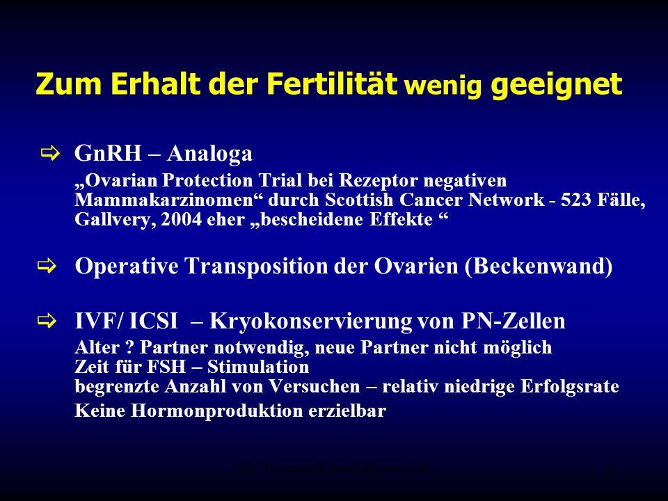 """FIS - Hormonell aktuell Zypern 20065 Zum Erhalt der Fertilität wenig geeignet  GnRH – Analoga """"Ovarian Protection Trial bei Rezeptor negativen Mammak"""