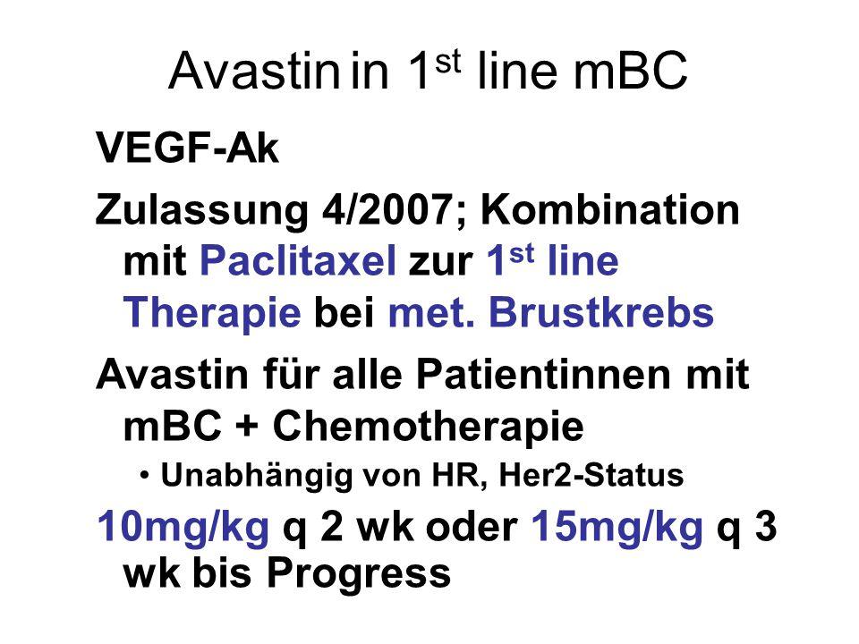 Avastin in 1 st line mBC VEGF-Ak Zulassung 4/2007; Kombination mit Paclitaxel zur 1 st line Therapie bei met.