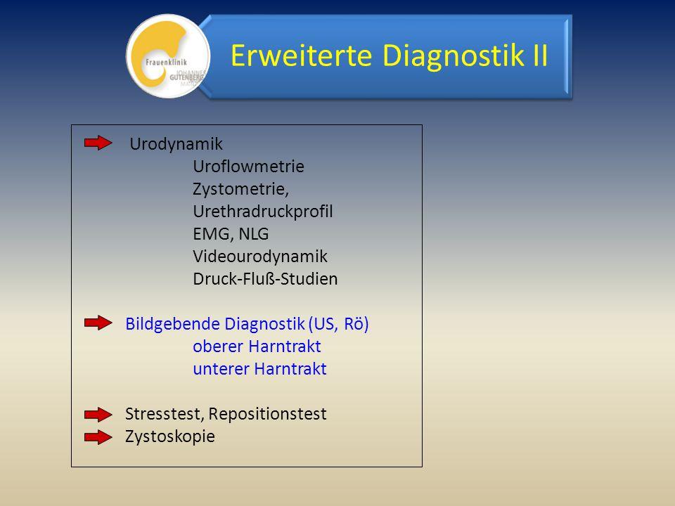 Urodynamik Uroflowmetrie Zystometrie, Urethradruckprofil EMG, NLG Videourodynamik Druck-Fluß-Studien Bildgebende Diagnostik (US, Rö) oberer Harntrakt