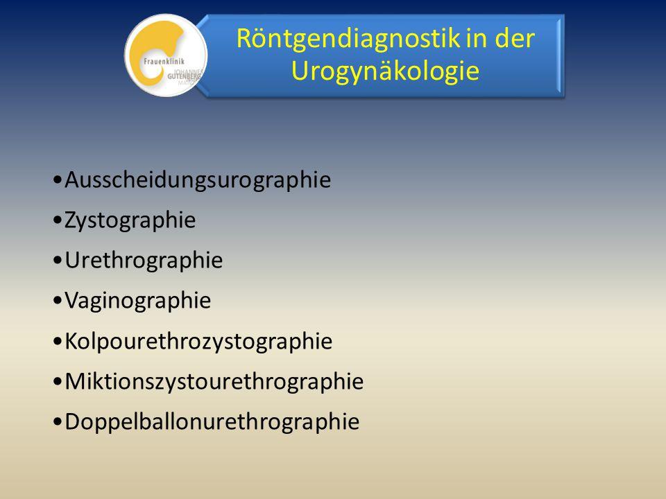 Ausscheidungsurographie Zystographie Urethrographie Vaginographie Kolpourethrozystographie Miktionszystourethrographie Doppelballonurethrographie Rönt