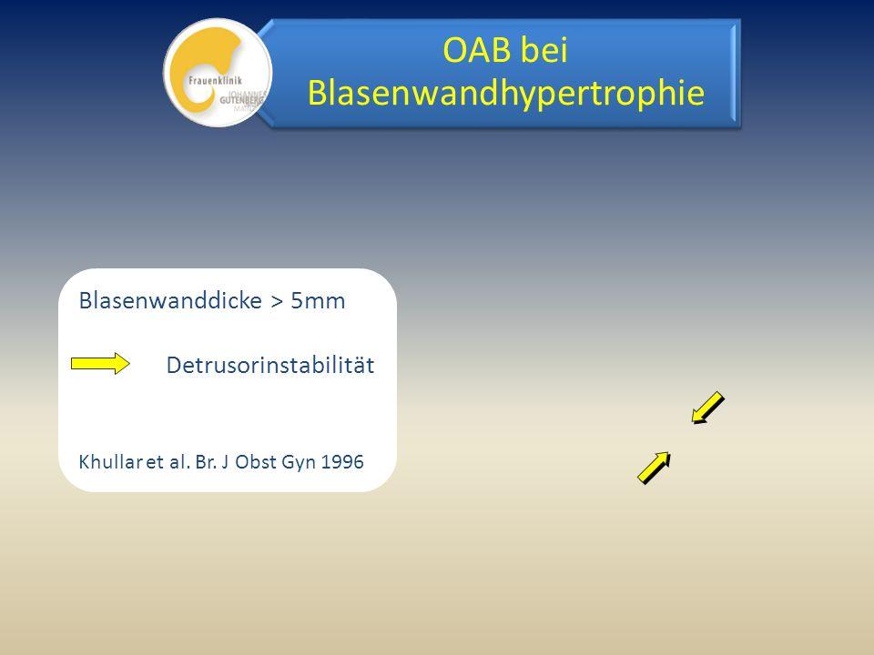 Blasenwanddicke > 5mm Detrusorinstabilität Khullar et al. Br. J Obst Gyn 1996 OAB bei Blasenwandhypertrophie
