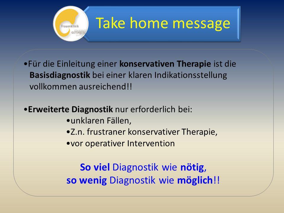 Für die Einleitung einer konservativen Therapie ist die Basisdiagnostik bei einer klaren Indikationsstellung vollkommen ausreichend!! Erweiterte Diagn