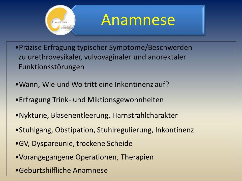 Präzise Erfragung typischer Symptome/Beschwerden zu urethrovesikaler, vulvovaginaler und anorektaler Funktionsstörungen Wann, Wie und Wo tritt eine In