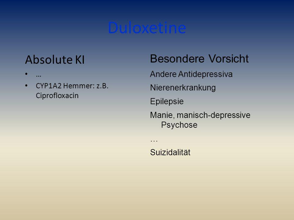 Duloxetine Absolute KI … CYP1A2 Hemmer: z.B. Ciprofloxacin Besondere Vorsicht Andere Antidepressiva Nierenerkrankung Epilepsie Manie, manisch-depressi