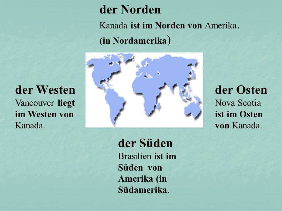 nördlich (von) südlich (von) östlich (von)westlich (von)